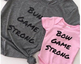 Bun/Bow Game Strong Mommy and Me Set | The Original | Mommy & Me | Matching Shirts