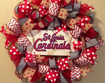 St Louis Cardinals wreath, St Louis Cardinals decor, St Louis Cardinals , baseball wreath, St Louis Cardinals sign, baseball wreath