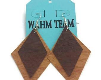 Faux Leather Earrings, Leather Dangle Earrings, Diamond Shape Leather Earrings, Brown Leather Earrings, Drop Earrings, Dangle Earrings