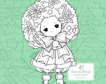 PNG Holiday Wreath Sprite - Aurora Wings Digital Stamp - Christmas Holiday Fairy Image - Line Art for Arts and Crafts by Mitzi Sato-Wiuff