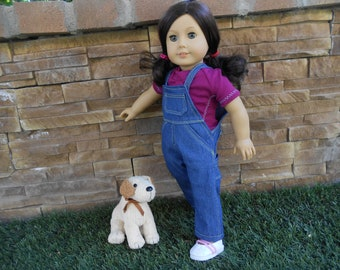Let's Play doll clothes Overalls w shirt blue denim fits 18 in dolls like American Girl and similar