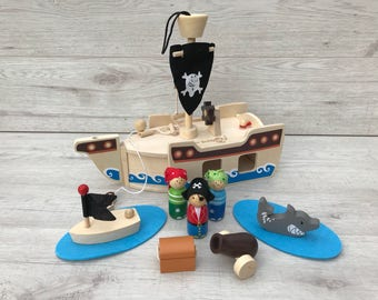 Personalised wooden pirate ship pretend play engraved pirate ship wooden toy