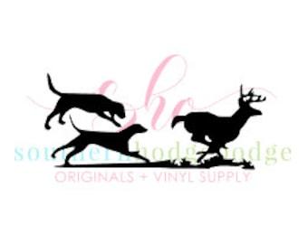 Walker dogs running deer SVG design/ SVG file/ svg design/ dogs chasing racoon/ dogs/ racoon/  coon dog svg/ deer svg/ silhouette