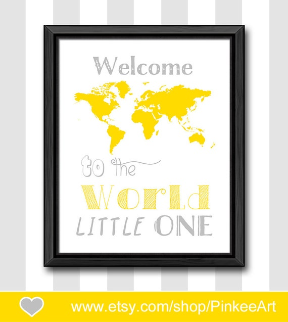 yellow gray baby wall decor travel theme nursery art welcome