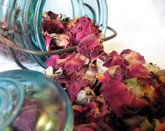 2 Pounds (680g) Dried Dark Red Rose Buds and Petals. Bulk Loose Rose Petals and Rose Buds.