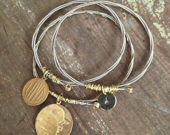 Guitar String Bracelet, Guitar String Jewelry, Hand Stamped Jewelry, Moon Bracelet, Love Bracelet, Personalized Gift