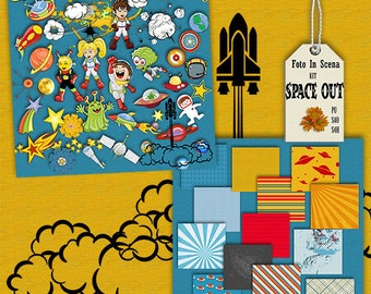 Digital kit SPACE OUT, space travel, rockets, space ships, space weapons, planets, astronaut