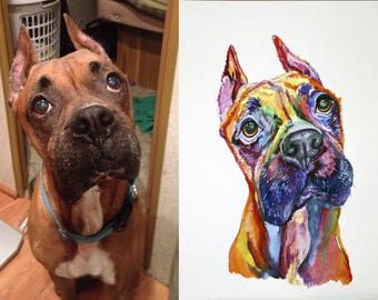 Order for Makeup By Chrissy  Colorful Dog  Portrait Original watercolor painting