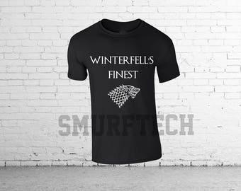 Game of Thrones - Stark - WINTERFELL'S FINEST T-Shirt (Jon Stark, Arya, Bran, Sansa, Stark, GOT)