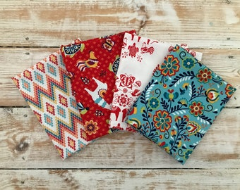 Colourful Juxtaposey Riley Blake Fabric Fat Quarter Bundle - Quilters Fabric - Sewing Gift - Red Blue Yellow and Orange Fabric