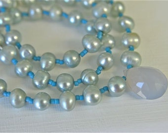 Chalcedony and Pearl Necklace - Gemstone Necklace and Earring Set for Blue Lovers