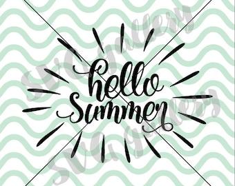Hello summer SVG, summer SVG, welcome summer svg, Digital cut file, sun svg, summer vibes svg, summer days svg, vacation, commercial use OK