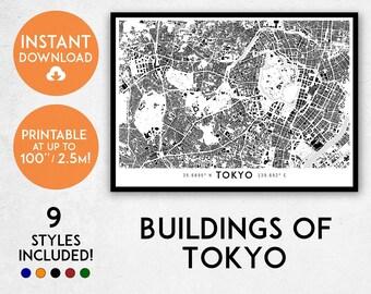 Buildings of Tokyo map print, Printable Tokyo map art, Tokyo print, Japan map, Tokyo art, Tokyo poster, Tokyo wall art print, Tokyo gift