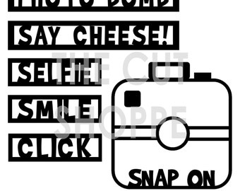 The Captured On Camera Cut File includes a cute camera and several phrases associated with photography.