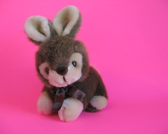 Vintage Bunny Rabbit Stuffed Animal by AMERICA WEGO FIESTA Crouching Bunny Brown and Cream Faux Fur 1980s Toy Plush