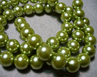 Glass Pearls Olive Green Round 10MM
