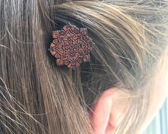 Mandala Hair Pin, Mahogany Wood Hair Accessory, Lotus Flower Hair Clip, Mandala bobby pin, BOHO Barrette, Mothers Day Gift, Floral Hair Pin