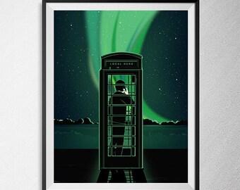 Local Hero print, Illustration, Minimal film poster, minimalist movie art, custom posters, film and movie print, film art.