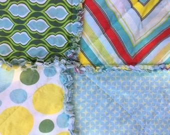 SALE Rag Quilt Baby Toddler Gender Neutral Boy Girl Blue Green Yellow Heather Bailey Nicey Jane