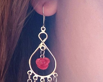 Classy Dangle Rose Earrings