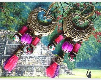 "Earrings ethnic ""TIKAL"" bronze metal, gemstone tassel, glass beads, enamel"