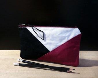 Purple zipper pouch bag, Cotton fabric pouch with zipper, Pochette, Large pencil pouch, Purple pencil case, Trousse