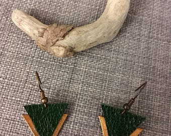 Earrings geometric - triangles - leather