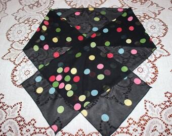 Noir avec pois Multi Poly imprimé foulard en mousseline