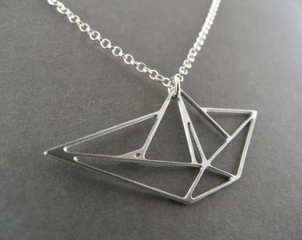 origami jewelry origami necklace boat necklace sailboat jewelry boat necklace boat charm nautical jewelry origami jewelry