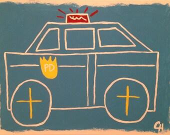 police car art, police car painting, police car nursery, car theme, police theme, boys art, modern art, boys room, cars art, kids art