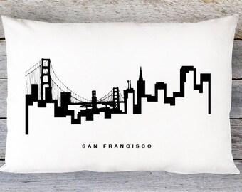 San Francisco Skyline Pillow Cover - San Francisco Skyline Throw Pillow Cover - Modern Black and White Lumbar Pillow - By Aldari Home