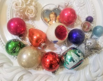 13 Piece Vtg Mercury Glass Christmas Ornament Lot Indent BIRD Shiny Brite!!