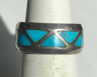 Sterling Silver Turquoise Band Ring-Size 4 3/4