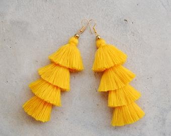 Four Layered Yellow Tassel Earrings
