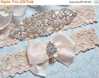 ON SALE Crystal Wedding Garter Set, Bridal Garter Set, Ivory Wedding Garter, Ivory Lace Garter, Keepsake Garter, Toss Garter, Rhinestone Gar