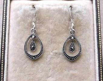 Dainty Deco Inspired Marcasite Silver Tear Drop Earrings