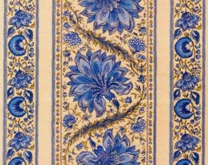 Dutch Chintz Border Fabric - Coromandel Madder Delft Blue - half (1/2) yard