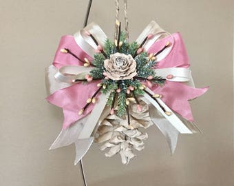 Spring ornaments, Pinecone ornaments, Easter ornament, Mother's Day ornament, ivory ornament, shabby chic, Rose bloom, holiday ornament