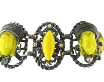 Selro Yellow Princess Bracelet/ Oval Lucite Cabochon Bracelet/ Selini Oval  Rope Panel Wide Bracelet / Oxidized Silver Gunmetal Bracelet