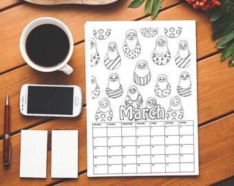 Printable Coloring Calendar 2018 | Patterns | PDF Download