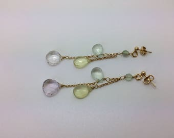 Earrings with green and yellow rose quartz drops, gold plated silver