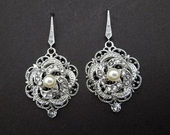 Pearl Earrings Wedding Earrings Stament Earrings Teardrop Chandelier Dangle Earrings Vintage Style Bridal Jewelry Dangle Earrings ROSELANI