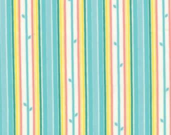 Stripe Fabric - Stem Stripe from Chantilly by Lauren and Jessi Jung for Moda Fabrics 25077 14 Aqua Yellow - Priced by the 1/2 yard