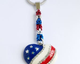 USA stars and stripes heart shaped keychain - red, white and blue - patriotic