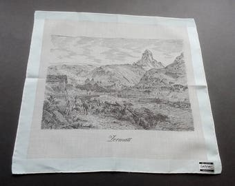 Vintage Swiss Lehner View of Zermatt Cotton Hankie Handkerchief Unused with Tag