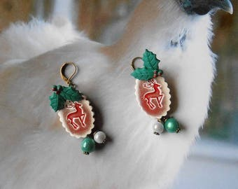 Little reindeer Christmas Leverback dangle earrings bronze medallions handcrafted ceramic Holly and magic beads charms