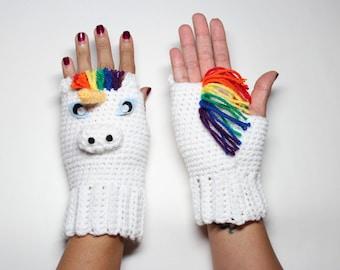 Unicorn Fingerless Gloves, Crochet Animal Mittens,  Rainbow Gloves, Winter Accessories,  Fantasy Wrist Warmers