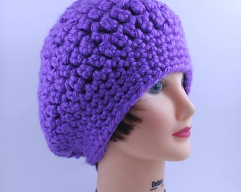 Knitted Beanie, Thick and Warm, Head Accessory , Purple