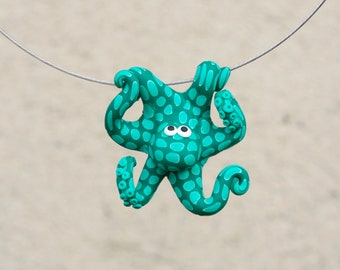 Hand made polymer clay cute petrol green octopus pendant