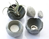 Three Concrete Bowls, cement candle holder, beton ring dish, organic handmade concrete decor, minimal modern 3 concrete bowls no0404